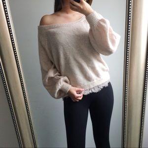 Victoria's Secret Blush Puffy Lace Trim Sweater